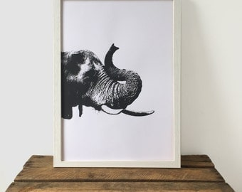 Black and White Elephant Print, Black and White Print, 29.7 cm x 42 cm, A3 Art Print, Animal Print, Screen Print, Gift Idea, Print