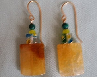 Sara-Handmade amber drop earrings with 14kt gold filled wires.