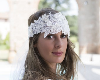 A must ! Romantic  couture Headband, elegant and luxury, French Guipure Lace, Roaring 20s style, handmade in France