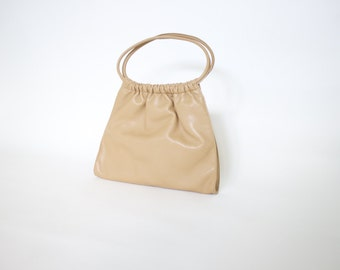 90s Vintage beige nude PVC faux leather tote bag   minimal handbag