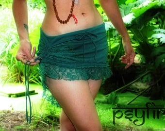 LACE PIXIE Skirt - Pocket Belt Skirt, Festival Skirt, Lace Miniskirt, Psytrance Skirt, Gypsy Skirt, Mini Skirt, Psy Clothing, Tribal Skirt