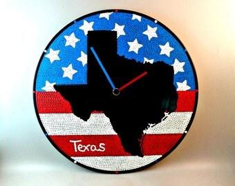 Texas, Wall clock, Vinyl clock, Texas map, Texas clock, Texas state map, Wall art, Home Decor, MiniDotClocks