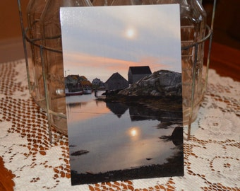 Set of Any 5 Artisan Post Cards, Peggy's Cove NS, Photo Postcard, Water Reflection at Sunset Post Card, Fine Art Photography, Greeting Card