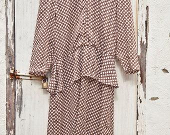 70s ARC Sydney Brown Check Dress // Size 12