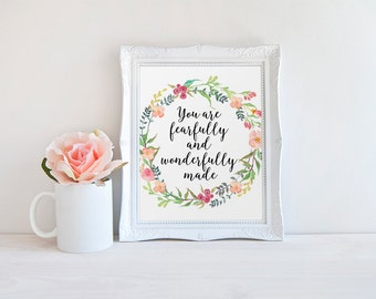 Bible Verse, You Are Fearfully And Wonderfully Made, Nursery Art, Bible Quote Print, Scripture Wall Art, Psalm 139, Christian Wall Art