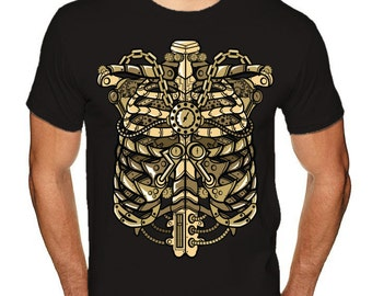 Gold Ribecage Men t-shirt, american apparel, very soft tshirt, men's Graphic Tee, men's Small to3XL tees