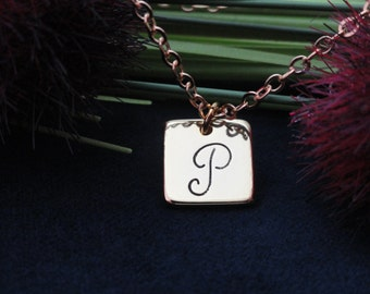 Customized Square Plate Necklace, Square Disc Necklace, Personalized Initial Necklace, Engraved Necklace, Initial Disc, NMAN139