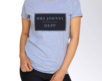 Johnny Depp T Shirt - White and Gray - S M L