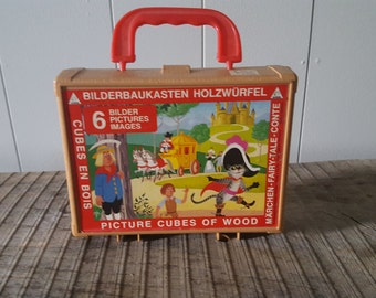 Vintage German Wooden Block Puzzle with Plastic Case and 6 Lithographs