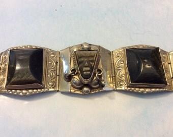 Vintage Demi Parure Sterling Silver Obsidian Mask Bracelet Earrings Taxco Mexico
