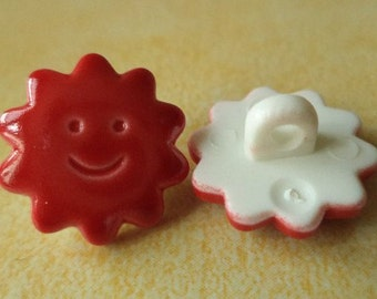Button 8 buttons for kids red 15 mm (2454)