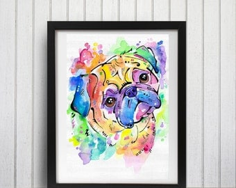 Watercolour Pug Art Print