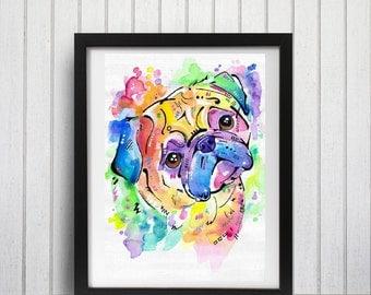 Watercolor Pug Art Print, Brightly Colored, Rainbow wall art