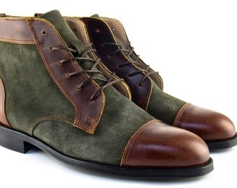 Men Handmade Balmoral Ankle Boots in Brown Leather and Green Suede - Chocolate Brown Leather and Olive Green Suede