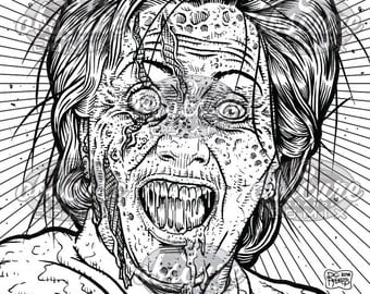 Digital Zombie Coloring Page - HELLARY!