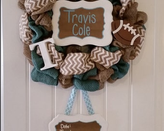 Customizable Hospital Baby Announcement Door Wreath **
