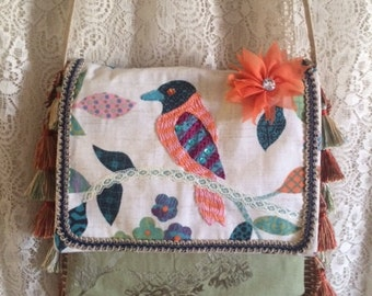 Boho Bird shoulder bag with tassels, embroidery, green, pink, orange