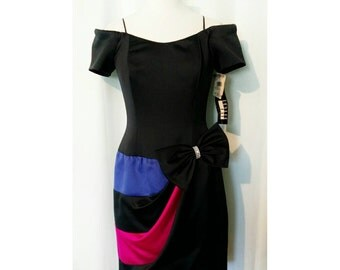 CLEARANCE! Leslie Fay Evenings Black Cocktail Dress with Fuschia, Blue, and Rhinestone Bow Accent - With Original Tags!
