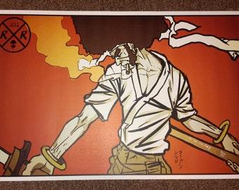 Afro Samurai red 11 × 17 print