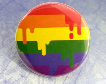 Button - LGBT Gay Rainbow Queer Pride Flag!