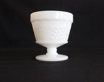 Vintage Milk Glass Dessert Cup Footed Grapes and Ivy