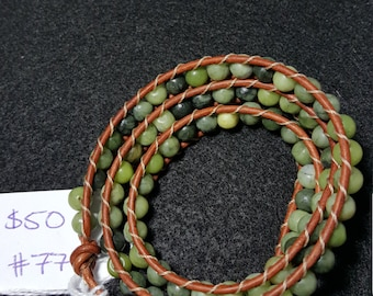 Triple Wrap Leather and Bead Bracelet/ Anklet