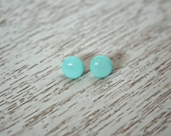 Round Teal Polymer Clay Stud Earrings