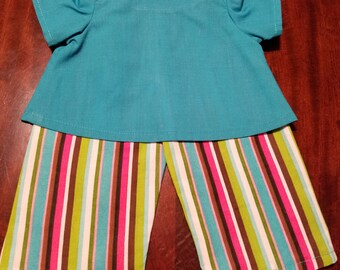 "18"" Standard Baby Doll Shirt and Capri Set / Turquoise Shirt and Multi Color Striped Capris"