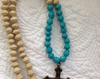 Single Strand Color Block Necklace with Cross Pendent