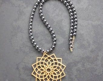 QUATREFOIL 3D Printed Pendant on Haematite Necklace, Handmade, 45cm Length