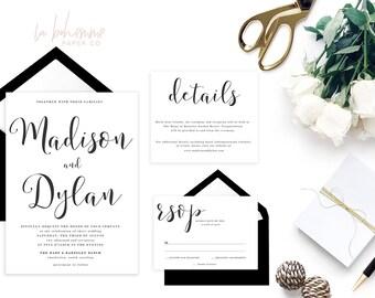 Printable Wedding Invitation Suite / Calligraphy / Wedding Invite Set - The Madison Suite