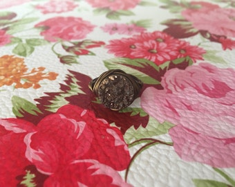 Stoned- Brown Druzy Vintage Bronze Wire Wrapped Ring-SZ 6