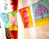 New style prayer flags BUDDHA mix. Spiritual, Yoga, Meditation, Boho decoration. Full of light and colors praying flags