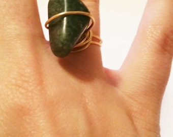 Olive Green Agate Ring