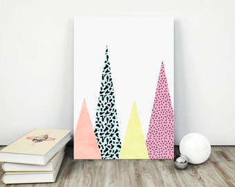 Geometric Mountain Print, Mountain Wall Art, Memphis Design, colorful mountains, Home decor, Modern Print, Trend Style, Color Geometry