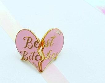 Broken Heart Pin - Best Bitches Pin - Pastel Pink Heart Pin - Double Hard Enamel Pin - Best Friends - Girlgang - Cloisonne - Flair