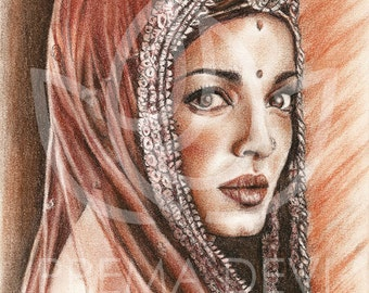 Portrait in red chalk of JODHAA AKBAR