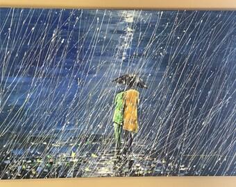 Seattle Rain, walking in rain, couple walking in rain, rain painting, abstract rain