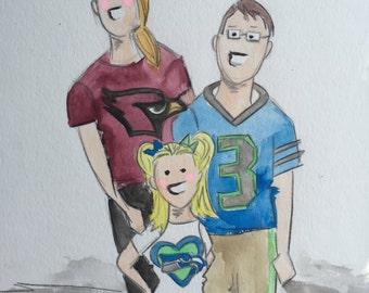 Custom Watercolor Portraits 8x10