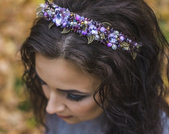 Beaded headband with violet and lilac crystals and pearls Beaded bridal crown Baroque style Headband adult Wedding