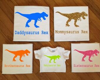 SALE! Family Tyrannosauru Rex Dinosaur Shirts, Family Matching Shirts, Matching Family Dino Silhouette TShirt Tops