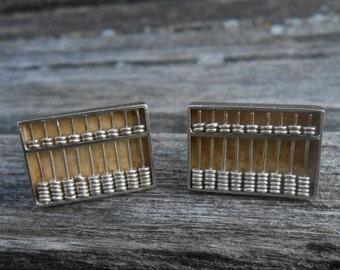 Sterling Silver Abacus Cufflinks. Vintage 1960s. Groomsmen Gift, Birthday, Anniversary, 925