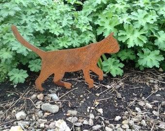 Rusty Cat Metal Garden Art / Walking Cat Metal Garden Decor / Rusty Metal Cat  Decor