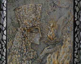 "Original painting by Svetlana Vysokovskikh ""NEFERTITI"", acrylic, 25 x 25 cm with wooden frame"