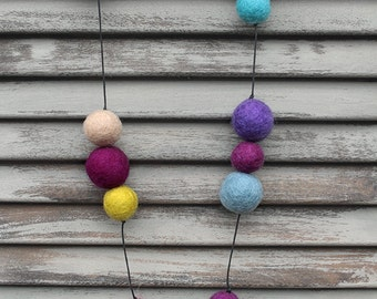 MARDI GRAS - Hand made Felt Necklace