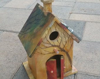 Hand painted large bird house, Home décor, Housewarming gift, Wedding gift, Hostess gift