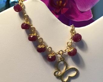 Natural Ruby Chain Bracelet July Birthstone