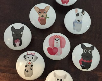 1.5 inch cabinet knobs, drawer pulls, dogs, white knobs, terriers, chi Tzu, Dalmation,poodle, westies