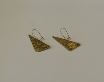 Brass triangle dangle earrings