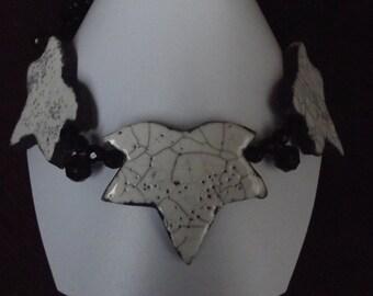Ceramic raku black and white necklace three sheets